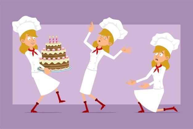 Dibujos animados plano divertido chef cocinero personaje de mujer en uniforme blanco y sombrero de panadero. chica con gran pastel de cumpleaños y caer inconsciente.