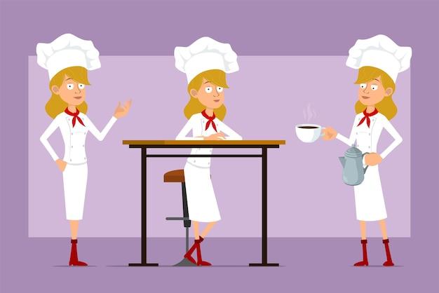 Dibujos animados plano divertido chef cocinero personaje de mujer en uniforme blanco y sombrero de panadero. chica posando y llevando cafetera tetera y taza en el plato.