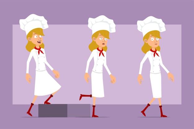 Dibujos animados plano divertido chef cocinero personaje de mujer en uniforme blanco y sombrero de panadero. exitosa chica cansada caminando hacia su objetivo.