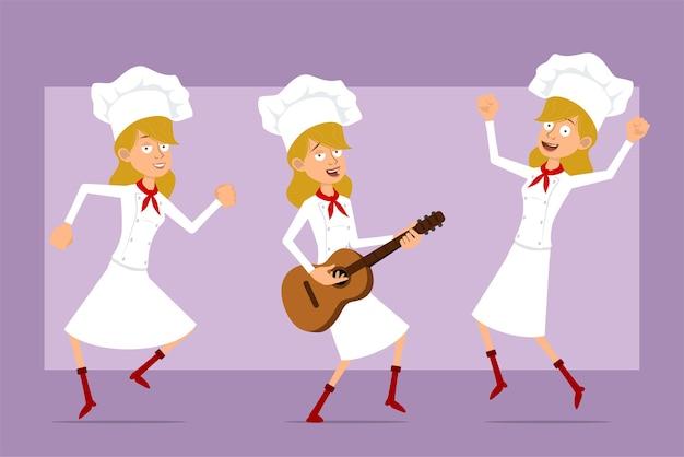 Dibujos animados plano divertido chef cocinero personaje de mujer en uniforme blanco y sombrero de panadero. niña saltando, bailando y tocando la guitarra.