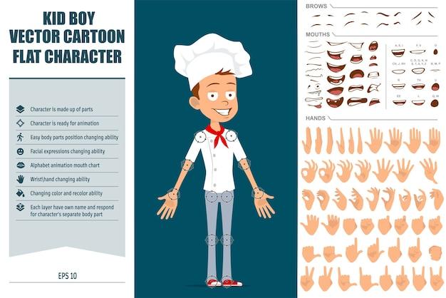 Dibujos animados plano divertido chef cocinero personaje de niño en uniforme blanco y sombrero de panadero. listo para animaciones. expresiones faciales, ojos, cejas, boca y manos fáciles de editar.