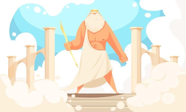Dibujos animados planos de dioses antiguos de grecia de la figura prominente mitológica zeus poderosa en panteón