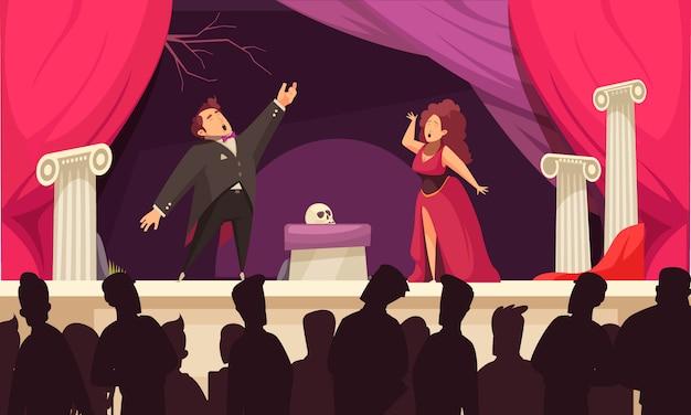 Dibujos animados planos de la escena del teatro de la ópera con 2 cantantes aria en el escenario y siluetas de audiencia