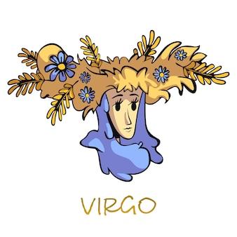 Dibujos animados planos de signo del zodiaco virgo. mujer en carácter de guirnalda floral. características del símbolo del horóscopo astrológico, diosa mitológica de la agricultura. elemento dibujado a mano aislado