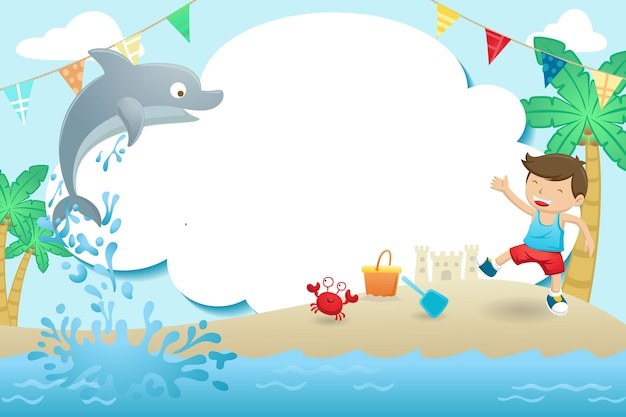 Dibujos animados de plantilla de marco, un niño jugando en la playa con un lindo delfín