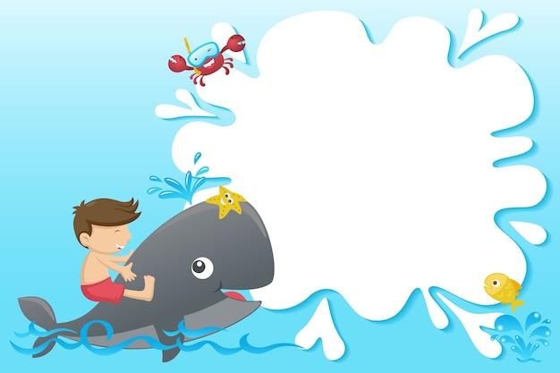 Dibujos animados de plantilla de marco con niño pequeño paseo en ballena divertida