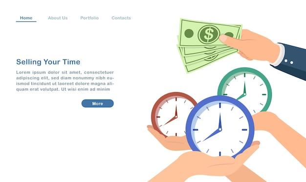 Dibujos animados de plantilla de página de destino del sitio web vendiendo tiempo de trabajo como hombre asalariado para ganar dinero concepto