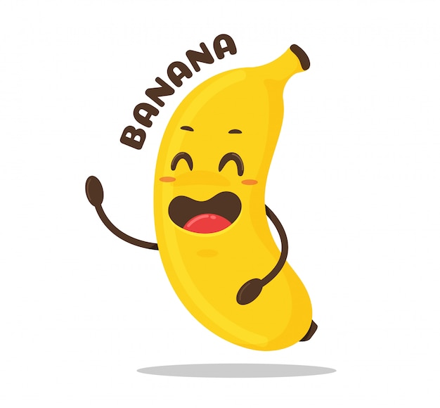 Dibujos animados de plátano la fruta amarilla del plátano se está riendo alegremente.