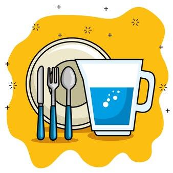 Dibujos animados de plato y cubiertos