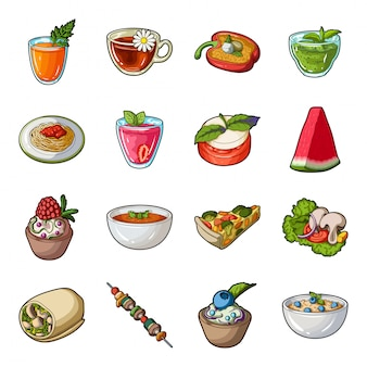 Dibujos animados de plato vegetariano establece icono. conjunto de dibujos animados aislados icono comida sana. ilustración plato vegetariano.
