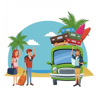 Dibujos animados de playa y amigos