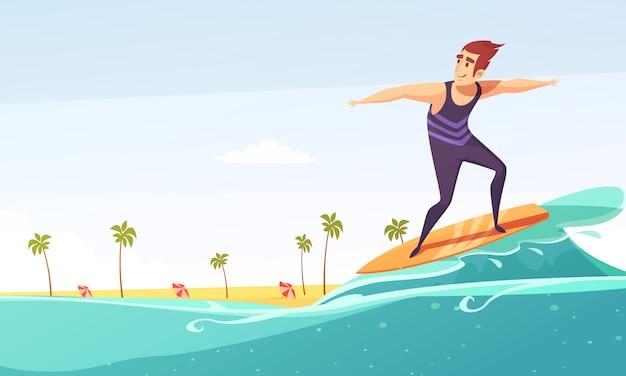 Dibujos animados de playa tropical de surf