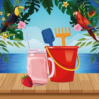 Dibujos animados de playa y vacaciones de verano