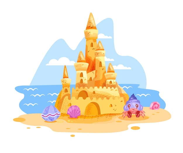 Dibujos animados de playa de verano de ilustración de castillo de arena aislado