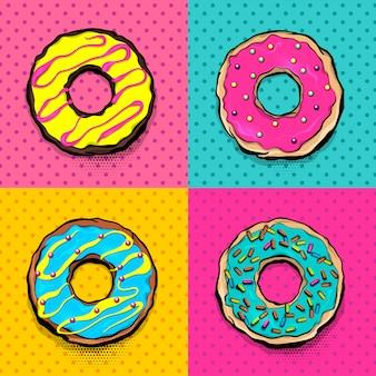 Dibujos animados de postres rosados y azules en estilo pop art