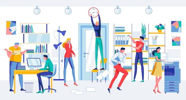 Dibujos animados preocupados personas en la sala de oficina fecha límite