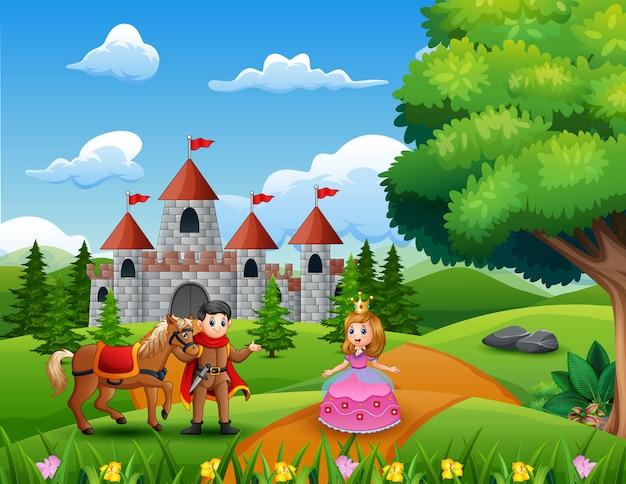 Dibujos animados de princesas y príncipes en la página del castillo.
