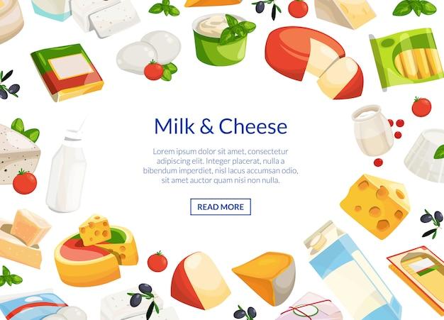 Dibujos animados de productos lácteos y quesos