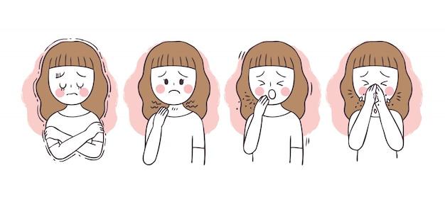 Dibujos animados protegen virus, tos niña, fiebre y estornudos.