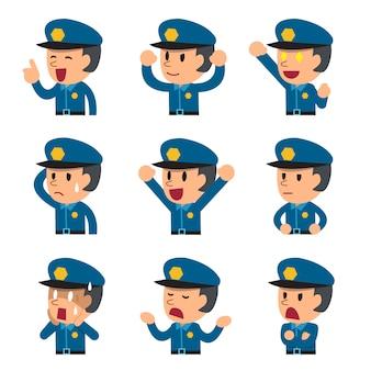 Dibujos animados que enfrenta un policía mostrando diferentes emociones.