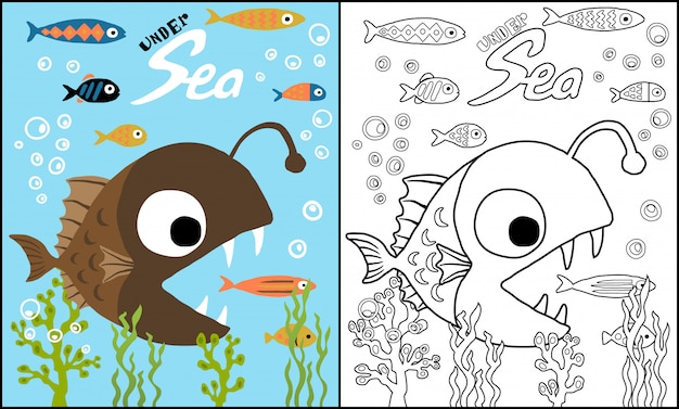 Dibujos animados de rape cazando peces pequeños
