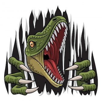 Dibujos animados raptor mascota rasgando