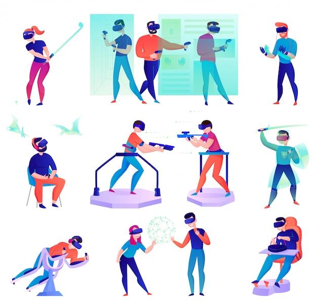 Dibujos animados de realidad virtual con personas que utilizan varios dispositivos modernos aislados en blanco