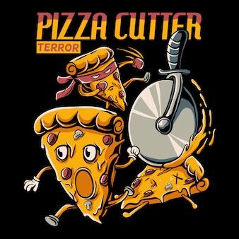 Dibujos animados de rebanada de pizza perseguida por la ilustración de la rueda de corte de pizza