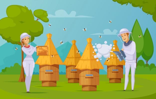 Dibujos animados de recolección de miel de granja de abejas