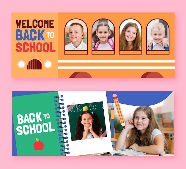 Dibujos animados de regreso a la escuela pancartas con foto