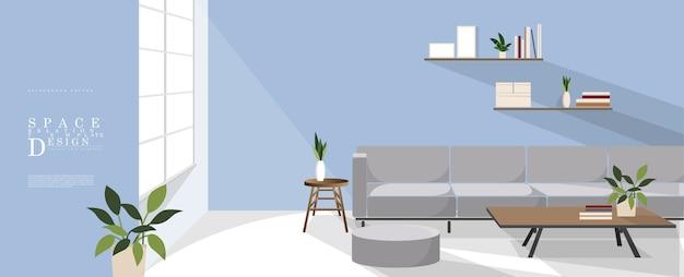 Dibujos animados relajante diseño de interiores de espacio azul, diseño de elementos de relación familiar