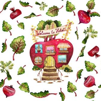 Dibujos animados remolacha casa acuarela, verduras