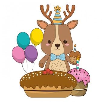 Dibujos animados de renos con icono de feliz cumpleaños