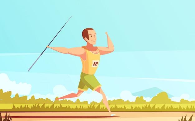 Dibujos animados retro deportista