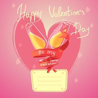Dibujos animados retro del día de san valentín con copas de champán y corazón en el fondo
