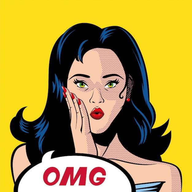 Dibujos animados retro de mujer de cabello negro con burbuja omg