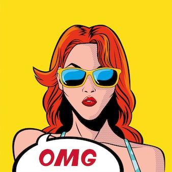 Dibujos animados retro de mujer de pelo rojo con burbuja omg