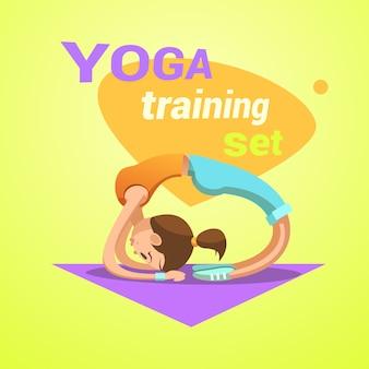 Dibujos animados retro de yoga con una chica guapa joven practicando ejercicios de estiramiento ilustración vectorial