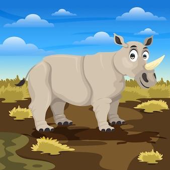 Dibujos animados de rinocerontes en la sabana