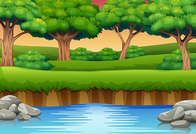 Dibujos animados de río en el bosque y siluetas de fondo