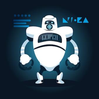 Dibujos animados de robot de tecnología sobre azul