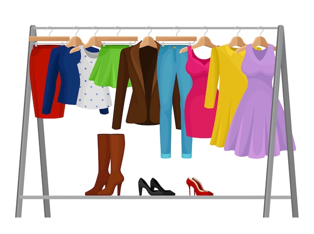 Dibujos animados ropa colorida en perchas. concepto de moda.