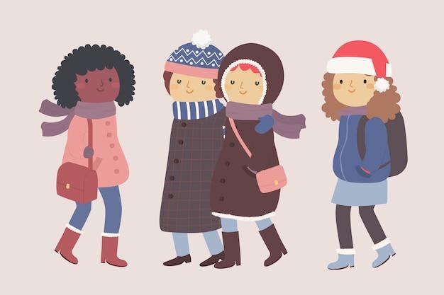 Dibujos animados con ropa de invierno y charlando
