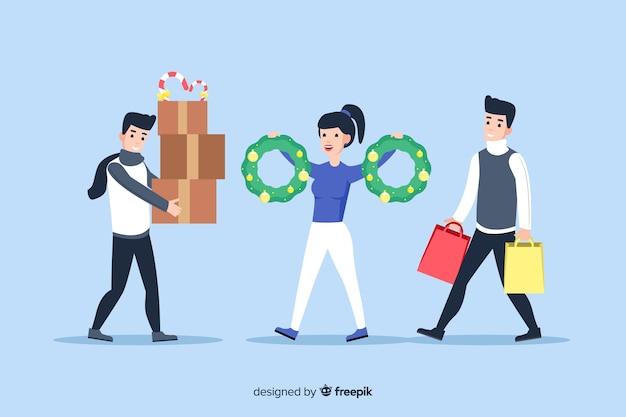 Dibujos animados con ropa de invierno y regalos