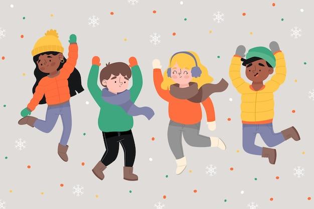 Dibujos animados con ropa de invierno y saltando