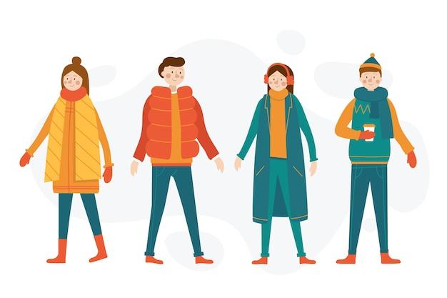 Dibujos animados con ropa de invierno