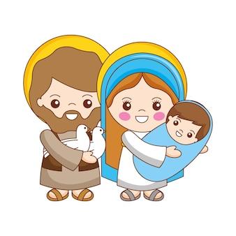 Dibujos animados de la sagrada familia con dibujos animados del niño jesús. ilustración vectorial
