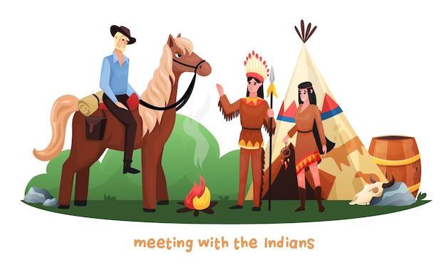 Dibujos animados del salvaje oeste con vaquero montando a caballo reunido con indios en traje nacional y arma de caza