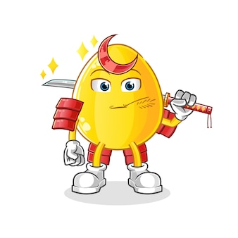 Dibujos animados de samurai de huevo dorado. mascota de dibujos animados