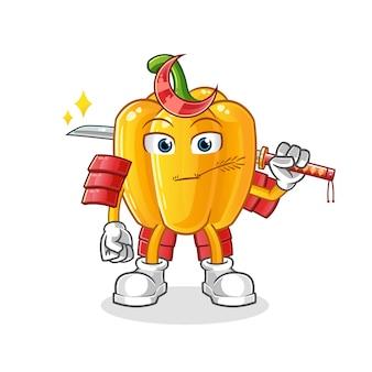 Dibujos animados de samurai de tomate